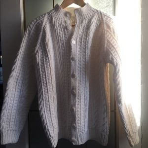 Handmade white button down knit sweater